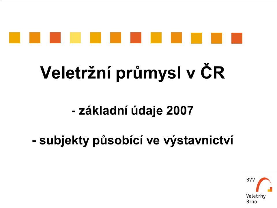 Veletržní průmysl v ČR - základní údaje 2007 - subjekty působící ve výstavnictví