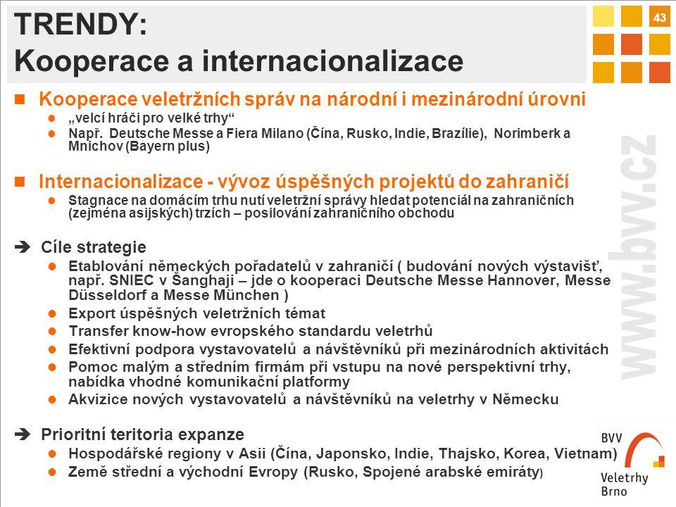 """43 TRENDY: Kooperace a internacionalizace Kooperace veletržních správ na národní i mezinárodní úrovni """"velcí hráči pro velké trhy Např."""