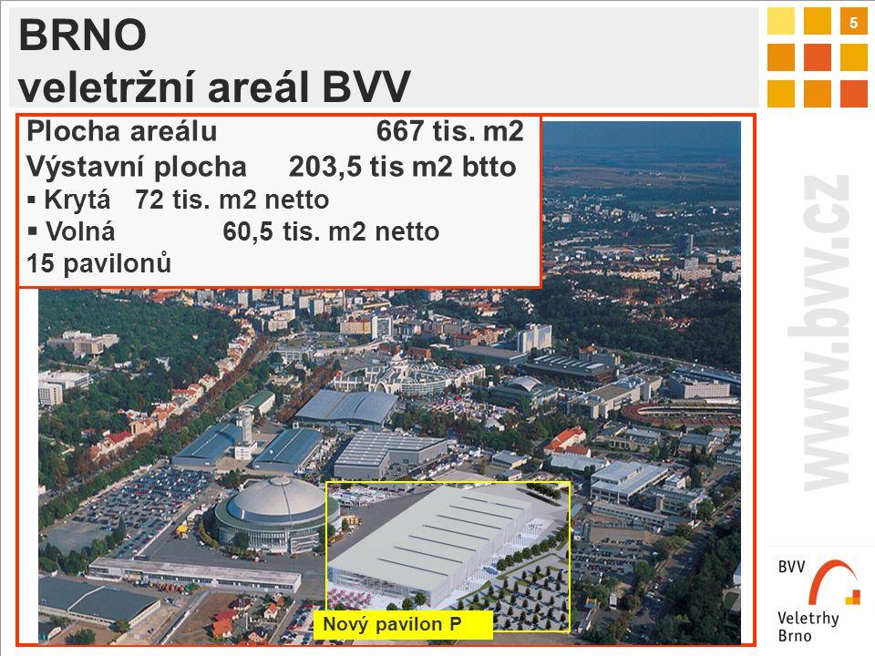 5 BRNO veletržní areál BVV Nový pavilon P Plocha areálu667 tis.