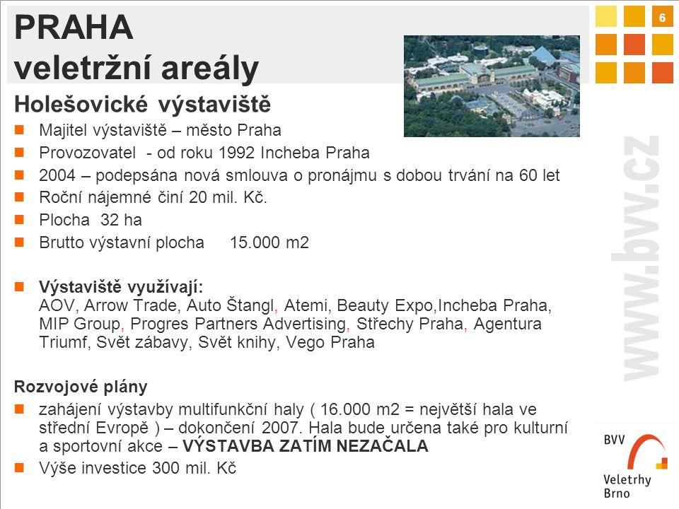 6 PRAHA veletržní areály Holešovické výstaviště Majitel výstaviště – město Praha Provozovatel - od roku 1992 Incheba Praha 2004 – podepsána nová smlouva o pronájmu s dobou trvání na 60 let Roční nájemné činí 20 mil.