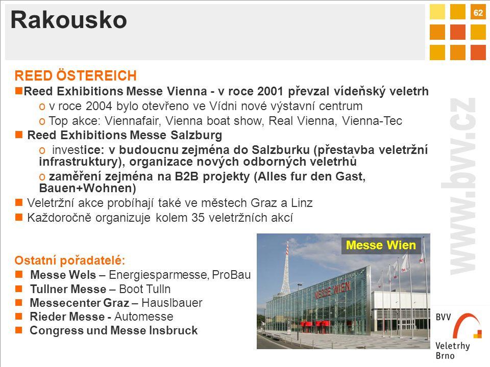 62 Rakousko REED ÖSTEREICH Reed Exhibitions Messe Vienna - v roce 2001 převzal vídeňský veletrh o v roce 2004 bylo otevřeno ve Vídni nové výstavní centrum o Top akce: Viennafair, Vienna boat show, Real Vienna, Vienna-Tec Reed Exhibitions Messe Salzburg o investice: v budoucnu zejména do Salzburku (přestavba veletržní infrastruktury), organizace nových odborných veletrhů o zaměření zejména na B2B projekty (Alles fur den Gast, Bauen+Wohnen) Veletržní akce probíhají také ve městech Graz a Linz Každoročně organizuje kolem 35 veletržních akcí Ostatní pořadatelé: Messe Wels – Energiesparmesse, ProBau Tullner Messe – Boot Tulln Messecenter Graz – Hauslbauer Rieder Messe - Automesse Congress und Messe Insbruck Messe Wien