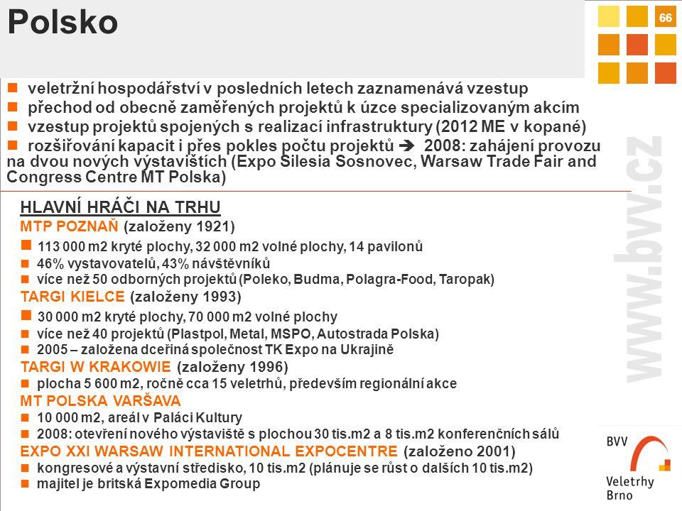 66 Polsko veletržní hospodářství v posledních letech zaznamenává vzestup přechod od obecně zaměřených projektů k úzce specializovaným akcím vzestup projektů spojených s realizací infrastruktury (2012 ME v kopané) rozšiřování kapacit i přes pokles počtu projektů  2008: zahájení provozu na dvou nových výstavištích (Expo Silesia Sosnovec, Warsaw Trade Fair and Congress Centre MT Polska) HLAVNÍ HRÁČI NA TRHU MTP POZNAŇ (založeny 1921) 113 000 m2 kryté plochy, 32 000 m2 volné plochy, 14 pavilonů 46% vystavovatelů, 43% návštěvníků více než 50 odborných projektů (Poleko, Budma, Polagra-Food, Taropak) TARGI KIELCE (založeny 1993) 30 000 m2 kryté plochy, 70 000 m2 volné plochy více než 40 projektů (Plastpol, Metal, MSPO, Autostrada Polska) 2005 – založena dceřiná společnost TK Expo na Ukrajině TARGI W KRAKOWIE (založeny 1996) plocha 5 600 m2, ročně cca 15 veletrhů, především regionální akce MT POLSKA VARŠAVA 10 000 m2, areál v Paláci Kultury 2008: otevření nového výstaviště s plochou 30 tis.m2 a 8 tis.m2 konferenčních sálů EXPO XXI WARSAW INTERNATIONAL EXPOCENTRE (založeno 2001) kongresové a výstavní středisko, 10 tis.m2 (plánuje se růst o dalších 10 tis.m2) majitel je britská Expomedia Group