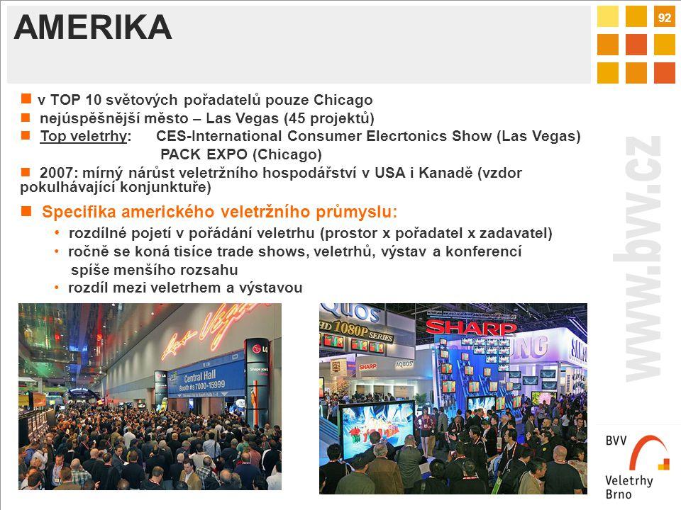92 AMERIKA v TOP 10 světových pořadatelů pouze Chicago nejúspěšnější město – Las Vegas (45 projektů) Top veletrhy: CES-International Consumer Elecrtonics Show (Las Vegas) PACK EXPO (Chicago) 2007: mírný nárůst veletržního hospodářství v USA i Kanadě (vzdor pokulhávající konjunktuře) Specifika amerického veletržního průmyslu: rozdílné pojetí v pořádání veletrhu (prostor x pořadatel x zadavatel) ročně se koná tisíce trade shows, veletrhů, výstav a konferencí spíše menšího rozsahu rozdíl mezi veletrhem a výstavou