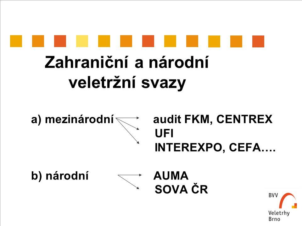 Zahraniční a národní veletržní svazy a) mezinárodní audit FKM, CENTREX UFI INTEREXPO, CEFA….
