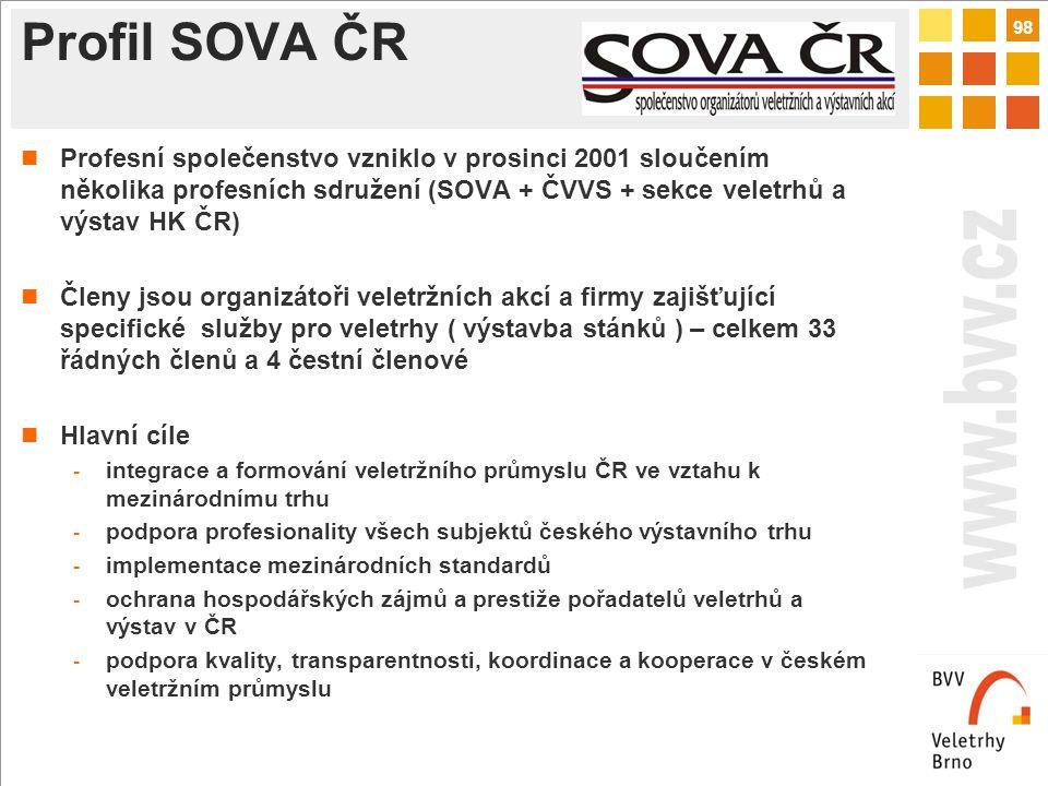 98 Profil SOVA ČR Profesní společenstvo vzniklo v prosinci 2001 sloučením několika profesních sdružení (SOVA + ČVVS + sekce veletrhů a výstav HK ČR) Členy jsou organizátoři veletržních akcí a firmy zajišťující specifické služby pro veletrhy ( výstavba stánků ) – celkem 33 řádných členů a 4 čestní členové Hlavní cíle - integrace a formování veletržního průmyslu ČR ve vztahu k mezinárodnímu trhu - podpora profesionality všech subjektů českého výstavního trhu - implementace mezinárodních standardů - ochrana hospodářských zájmů a prestiže pořadatelů veletrhů a výstav v ČR - podpora kvality, transparentnosti, koordinace a kooperace v českém veletržním průmyslu