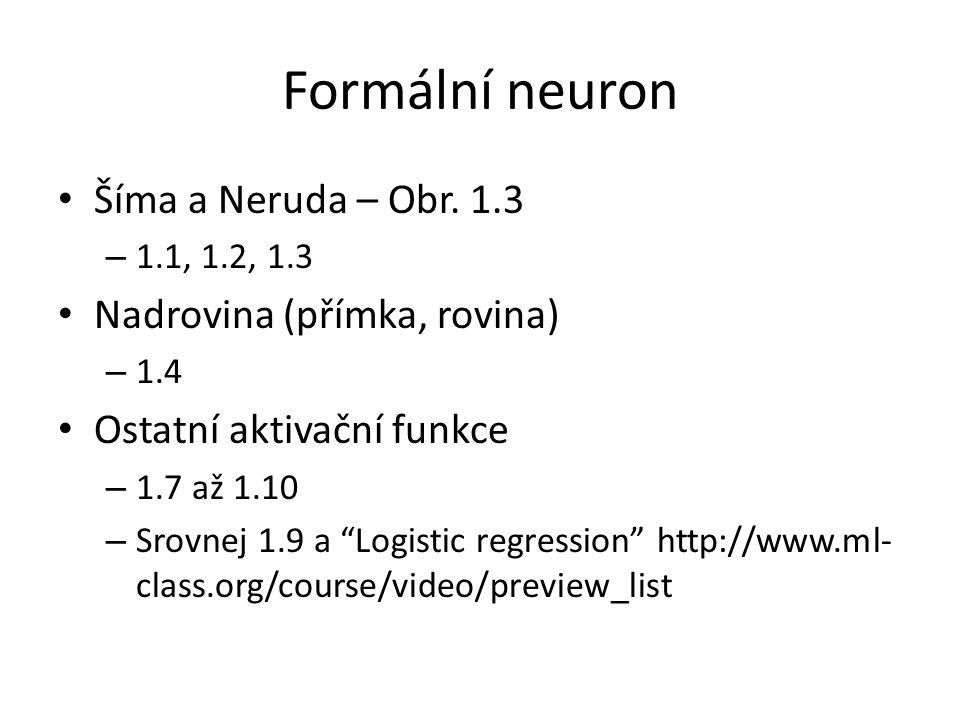 """Formální neuron Šíma a Neruda – Obr. 1.3 – 1.1, 1.2, 1.3 Nadrovina (přímka, rovina) – 1.4 Ostatní aktivační funkce – 1.7 až 1.10 – Srovnej 1.9 a """"Logi"""