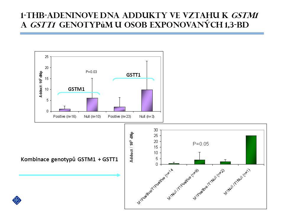 1-THB-AdeninOVe DNA addukty ve vztahu k GSTM1 a GSTT1 genotyp ů m u osob exponovaných 1,3-BD GSTM1 GSTT1 Kombinace genotypů GSTM1 + GSTT1 Pavel Vodick