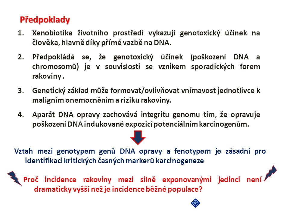 Kaskáda dějů v genotoxicitě a karcinogeneze XENOBIOTICS REACTIVE METABOLITES PROTEIN ADDUCTS DNA ADDUCTS CYTOTOXICITY, APOPTOSIS DNA SSB Transition lesions, CA, SCE, deletions, chromosomal instability DNA REPAIR MUTAGENESIS HPRT, tumor suppressor genes, oncogenes CARCINOGENESIS INDIVIDUAL SUSCEPTIBILITY Biotransformation and DNA repair genes Additional factors Metabolic activation or deactivation Pavel Vodicka,