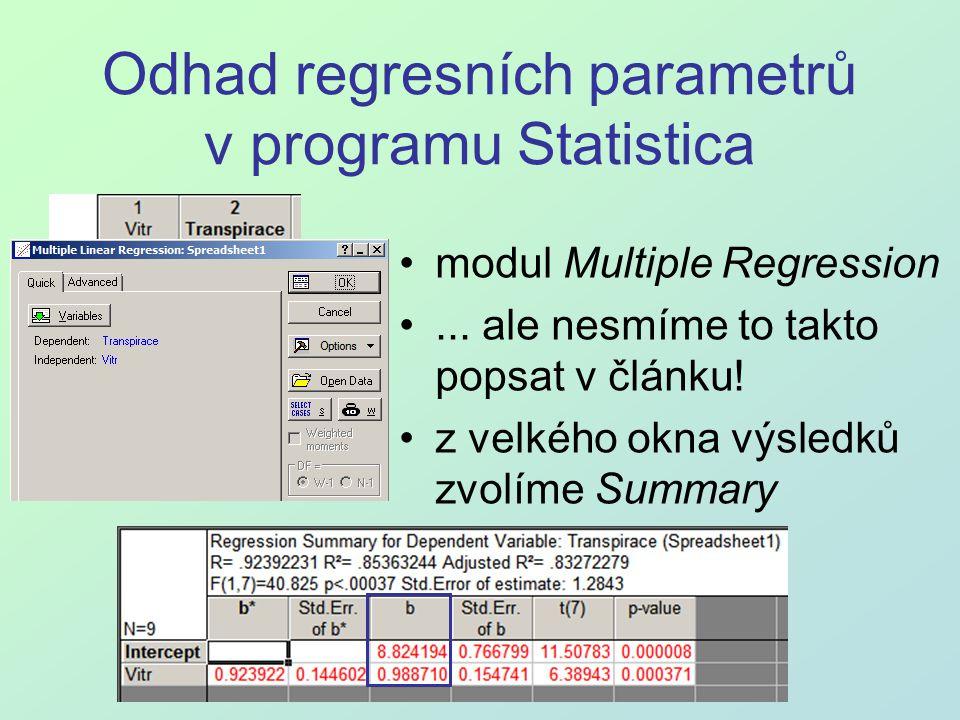 Odhad regresních parametrů v programu Statistica modul Multiple Regression... ale nesmíme to takto popsat v článku! z velkého okna výsledků zvolíme Su