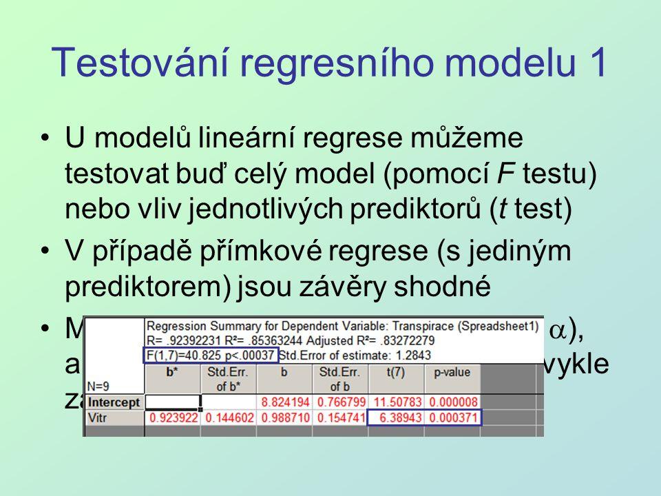 Testování regresního modelu 1 U modelů lineární regrese můžeme testovat buď celý model (pomocí F testu) nebo vliv jednotlivých prediktorů (t test) V p