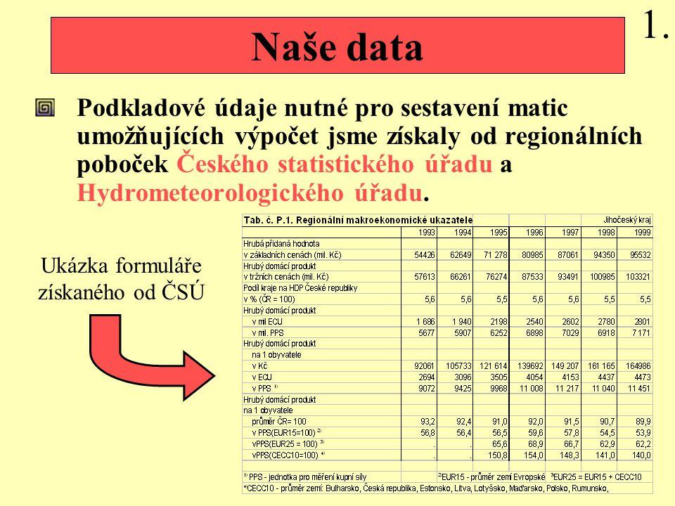Naše data Podkladové údaje nutné pro sestavení matic umožňujících výpočet jsme získaly od regionálních poboček Českého statistického úřadu a Hydrometeorologického úřadu.