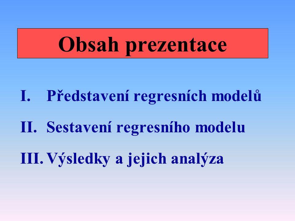 Obsah prezentace I.Představení regresních modelů II.Sestavení regresního modelu III.Výsledky a jejich analýza