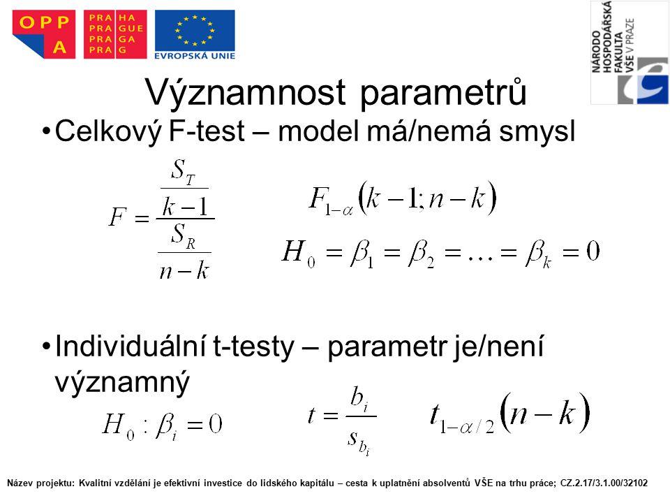 Významnost parametrů Celkový F-test – model má/nemá smysl Individuální t-testy – parametr je/není významný Název projektu: Kvalitní vzdělání je efekti