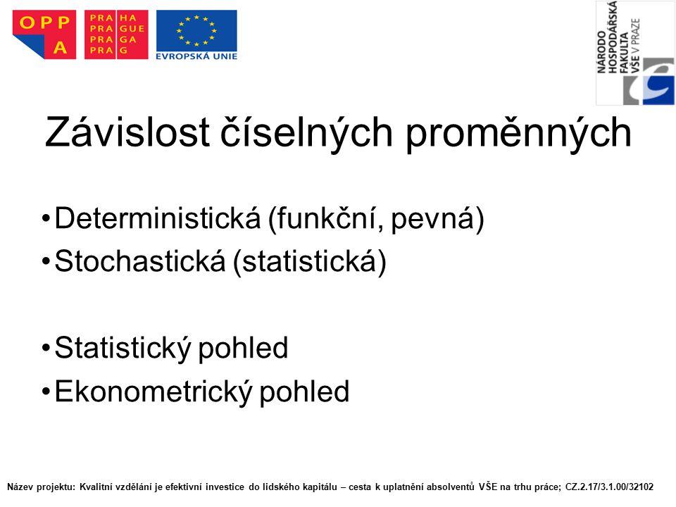 Závislost číselných proměnných Deterministická (funkční, pevná) Stochastická (statistická) Statistický pohled Ekonometrický pohled Název projektu: Kva