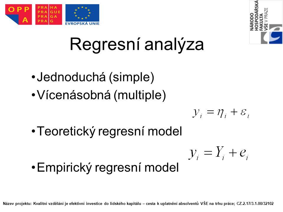 Regresní analýza Jednoduchá (simple) Vícenásobná (multiple) Teoretický regresní model Empirický regresní model Název projektu: Kvalitní vzdělání je ef
