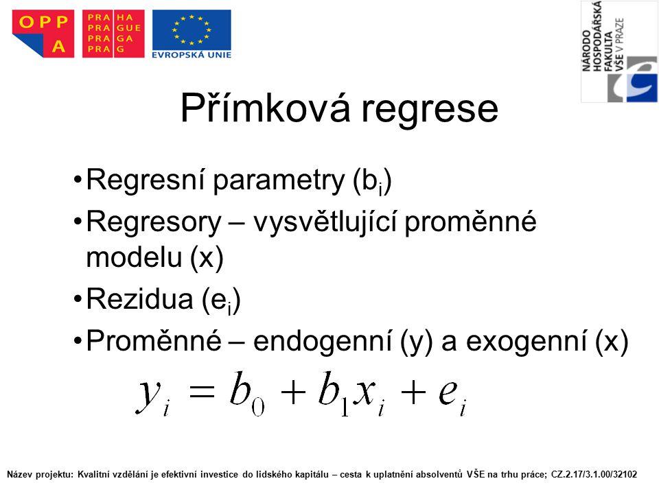 Přímková regrese Regresní parametry (b i ) Regresory – vysvětlující proměnné modelu (x) Rezidua (e i ) Proměnné – endogenní (y) a exogenní (x) Název p