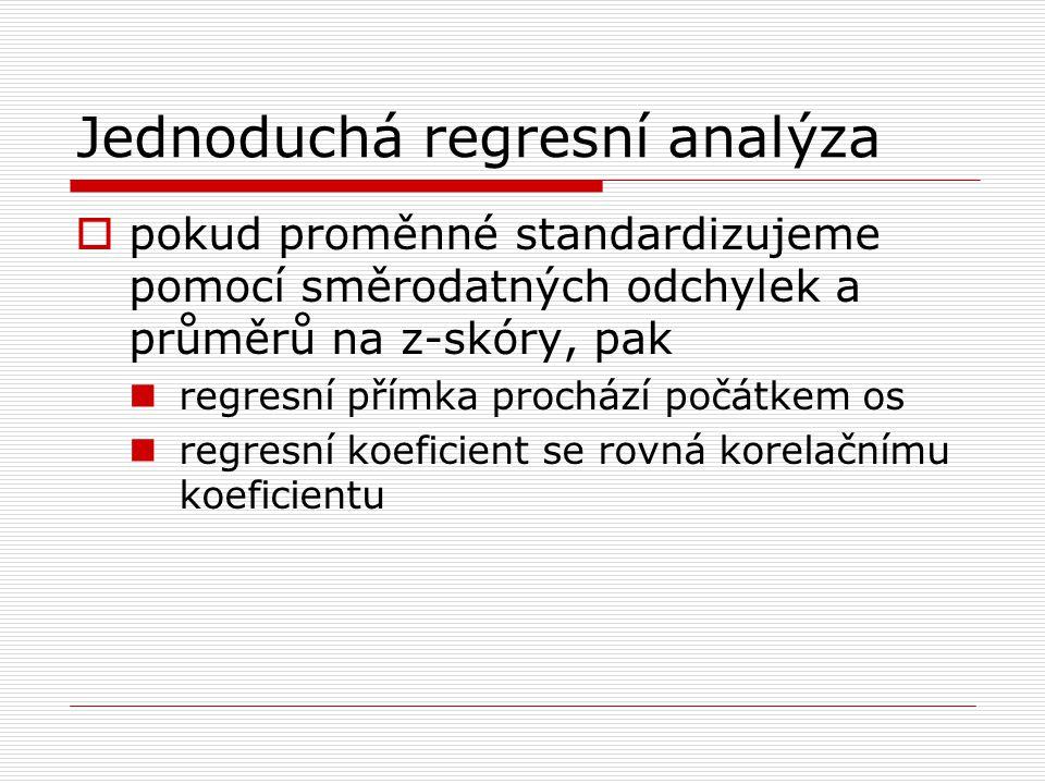 Jednoduchá regresní analýza  pokud proměnné standardizujeme pomocí směrodatných odchylek a průměrů na z-skóry, pak regresní přímka prochází počátkem