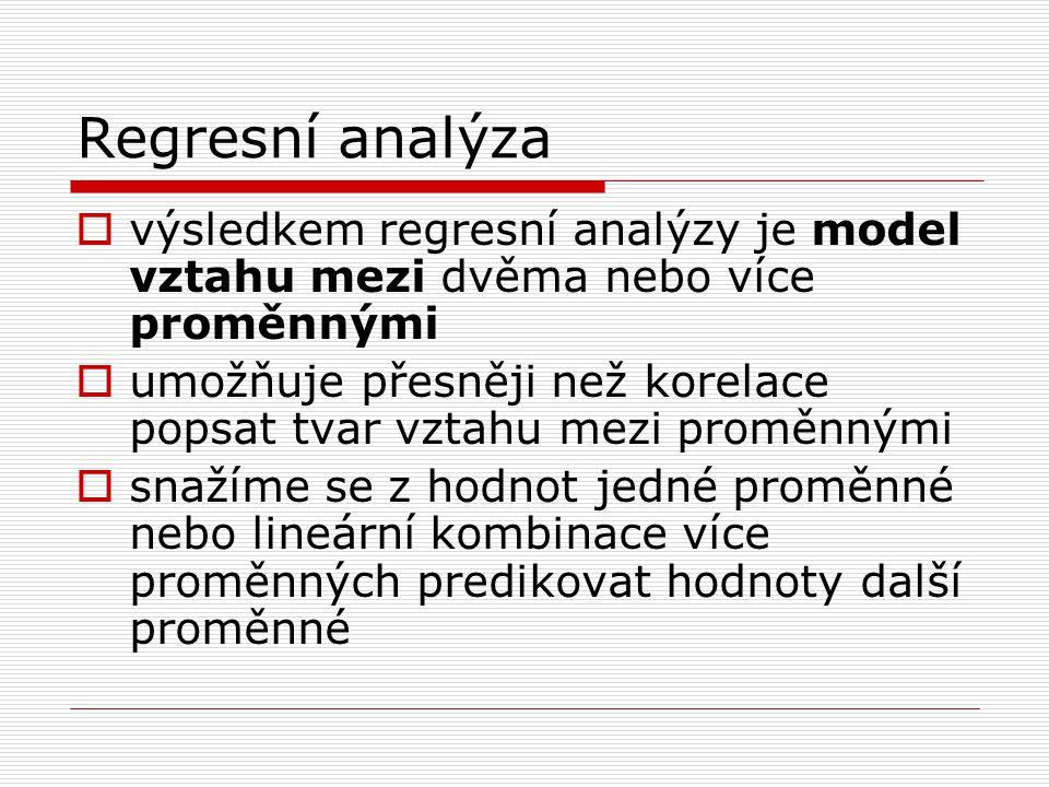 Regresní analýza  dva typy proměnných: predikovaná (závislá) proměnná a prediktory (nezávisle proměnné)  predikovaná proměnná se označuje také jako regresand, prediktor jako regresor  predikovaná proměnná se označuje Y, prediktory X 1, X 2 …X n  pouze 1 prediktor – jednoduchá regrese  více prediktorů – mnohonásobná regrese