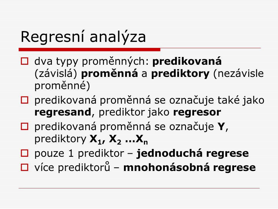 Regresní analýza  dva typy proměnných: predikovaná (závislá) proměnná a prediktory (nezávisle proměnné)  predikovaná proměnná se označuje také jako
