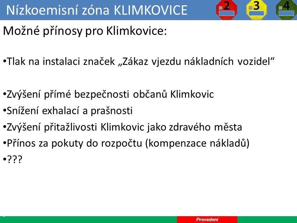 Nízkoemisní zóna KLIMKOVICE 23 Možné zápory pro Klimkovice: Úbytek klientely podnikatelů v Klimkovicích Komplikace při soukromých návštěvách Náklady na značení a provoz nízkoemisní zóny ??.