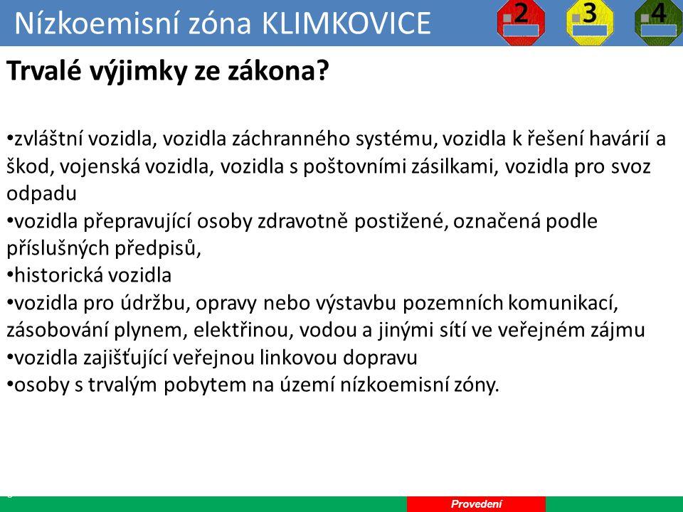 Nízkoemisní zóna KLIMKOVICE 29 Dočasné výjimky ze zákona.