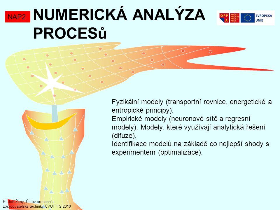 NUMERICKÁ ANALÝZA PROCESů NAP2 Fyzikální modely (transportní rovnice, energetické a entropické principy). Empirické modely (neuronové sítě a regresní