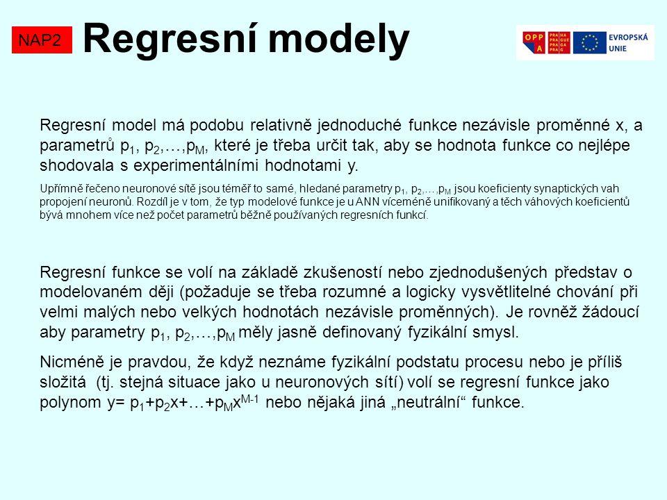 NAP2 Regresní model má podobu relativně jednoduché funkce nezávisle proměnné x, a parametrů p 1, p 2,…,p M, které je třeba určit tak, aby se hodnota f