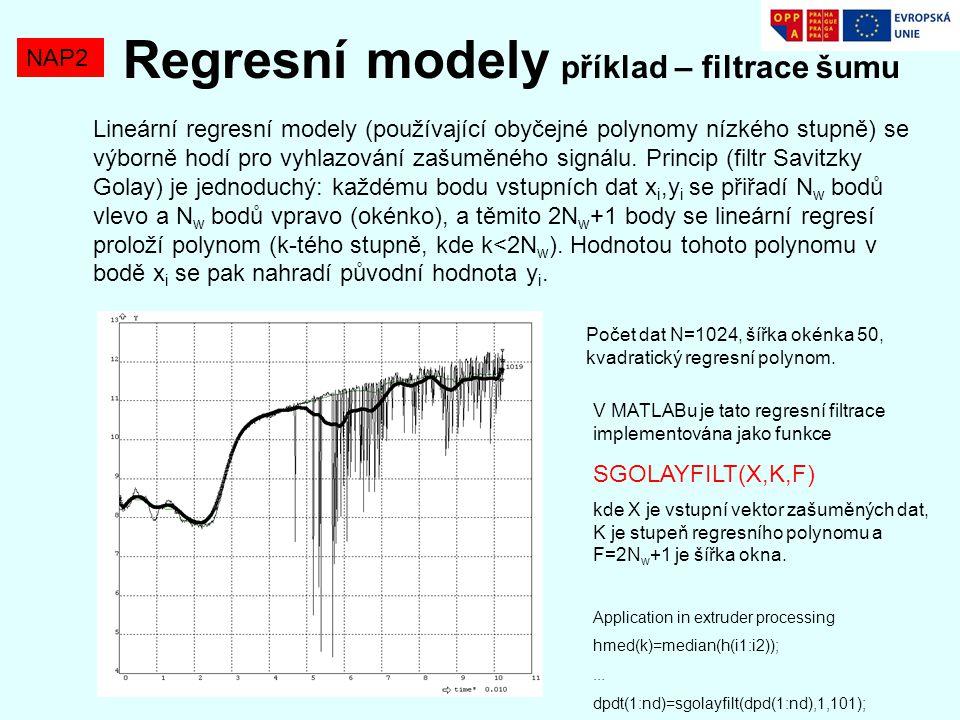 Regresní modely příklad – filtrace šumu NAP2 Lineární regresní modely (používající obyčejné polynomy nízkého stupně) se výborně hodí pro vyhlazování z