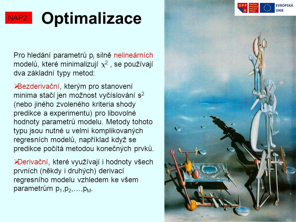 Optimalizace NAP2 Pro hledání parametrů p i silně nelineárních modelů, které minimalizují  2, se používají dva základní typy metod:  Bezderivační, k