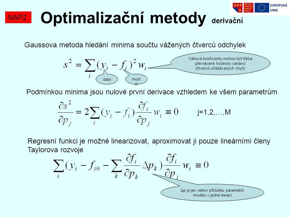 Optimalizační metody derivační NAP2 Gaussova metoda hledání minima součtu vážených čtverců odchylek Váhové koeficienty mohou být třeba převrácené hodn