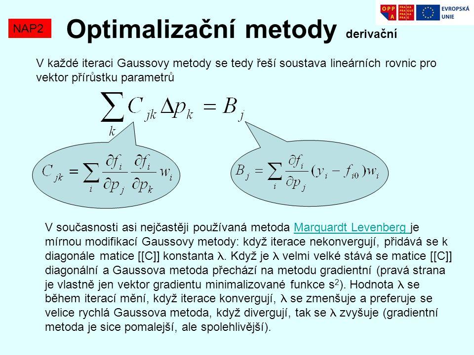 Optimalizační metody derivační NAP2 V každé iteraci Gaussovy metody se tedy řeší soustava lineárních rovnic pro vektor přírůstku parametrů V současnos