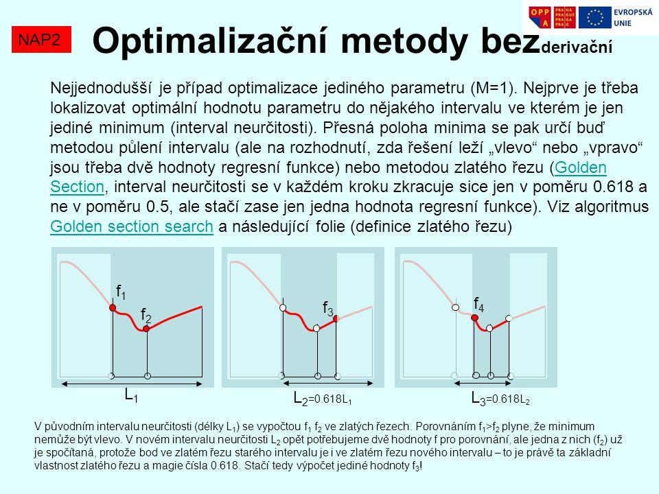 Optimalizační metody bez derivační NAP2 Nejjednodušší je případ optimalizace jediného parametru (M=1). Nejprve je třeba lokalizovat optimální hodnotu