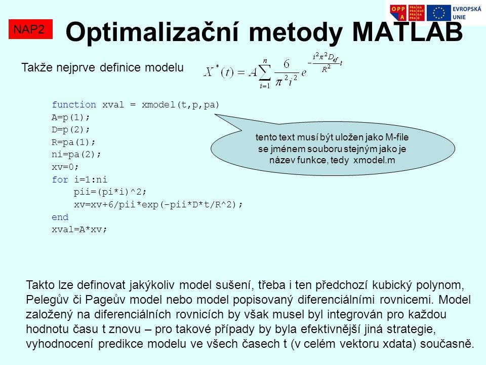 Optimalizační metody MATLAB NAP2 Takže nejprve definice modelu function xval = xmodel(t,p,pa) A=p(1); D=p(2); R=pa(1); ni=pa(2); xv=0; for i=1:ni pii=