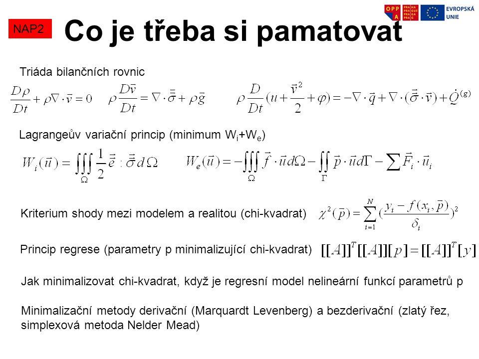 Co je třeba si pamatovat NAP2 Triáda bilančních rovnic Lagrangeův variační princip (minimum W i +W e ) Kriterium shody mezi modelem a realitou (chi-kv