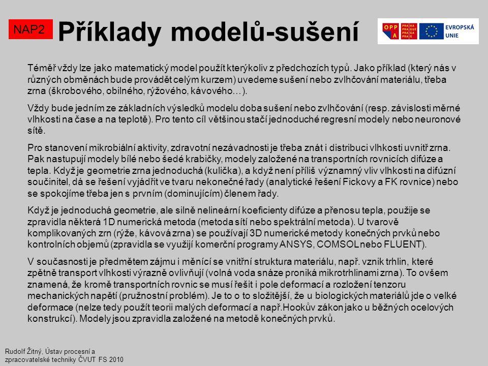 Příklady modelů-sušení NAP2 Rudolf Žitný, Ústav procesní a zpracovatelské techniky ČVUT FS 2010 Téměř vždy lze jako matematický model použít kterýkoli