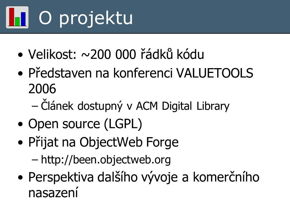 O projektu Velikost: ~200 000 řádků kódu Představen na konferenci VALUETOOLS 2006 –Článek dostupný v ACM Digital Library Open source (LGPL) Přijat na ObjectWeb Forge –http://been.objectweb.org Perspektiva dalšího vývoje a komerčního nasazení