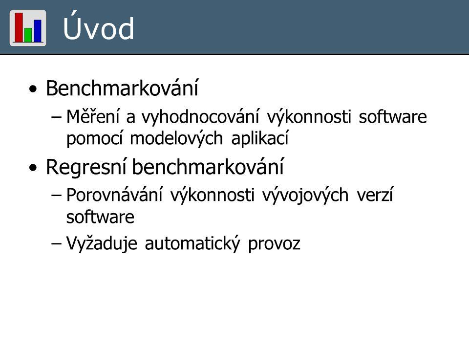 Úvod Benchmarkování –Měření a vyhodnocování výkonnosti software pomocí modelových aplikací Regresní benchmarkování –Porovnávání výkonnosti vývojových verzí software –Vyžaduje automatický provoz