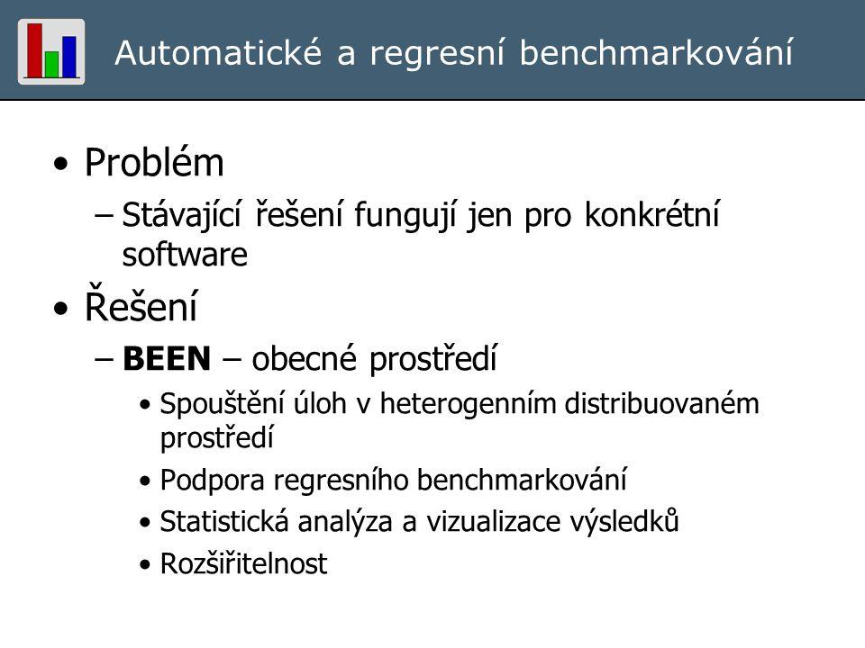 Automatické a regresní benchmarkování Problém –Stávající řešení fungují jen pro konkrétní software Řešení –BEEN – obecné prostředí Spouštění úloh v he