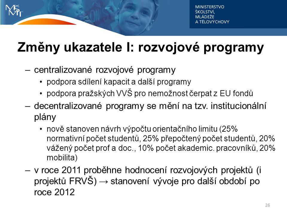 Změny ukazatele I: rozvojové programy –centralizované rozvojové programy podpora sdílení kapacit a další programy podpora pražských VVŠ pro nemožnost
