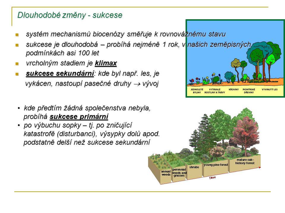 Dlouhodobé změny - sukcese systém mechanismů biocenózy směřuje k rovnovážnému stavu systém mechanismů biocenózy směřuje k rovnovážnému stavu sukcese je dlouhodobá – probíhá nejméně 1 rok, v našich zeměpisných podmínkách asi 100 let sukcese je dlouhodobá – probíhá nejméně 1 rok, v našich zeměpisných podmínkách asi 100 let vrcholným stadiem je klimax vrcholným stadiem je klimax sukcese sekundární: kde byl např.