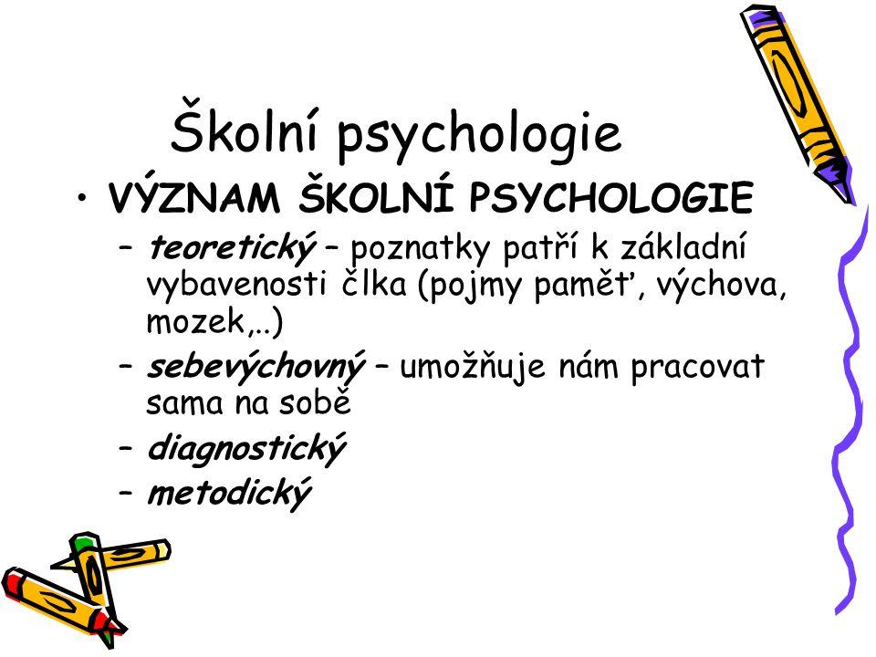 Školní psychologie VÝZNAM ŠKOLNÍ PSYCHOLOGIE –teoretický – poznatky patří k základní vybavenosti člka (pojmy paměť, výchova, mozek,..) –sebevýchovný –