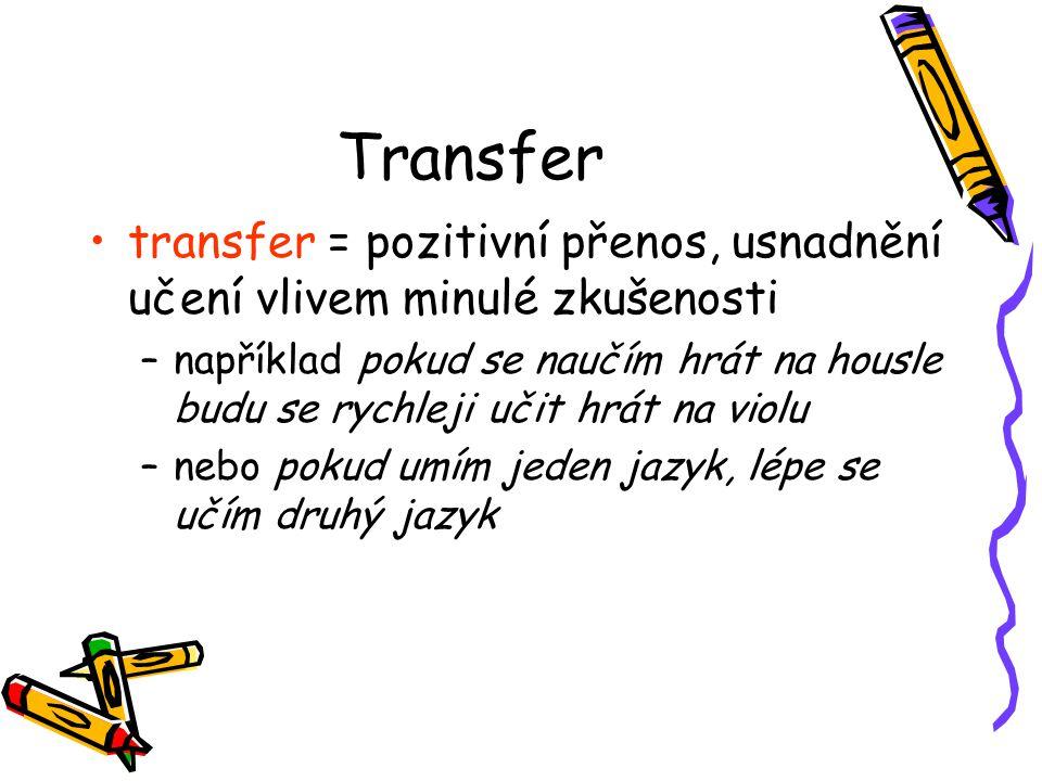 Transfer transfer = pozitivní přenos, usnadnění učení vlivem minulé zkušenosti –například pokud se naučím hrát na housle budu se rychleji učit hrát na
