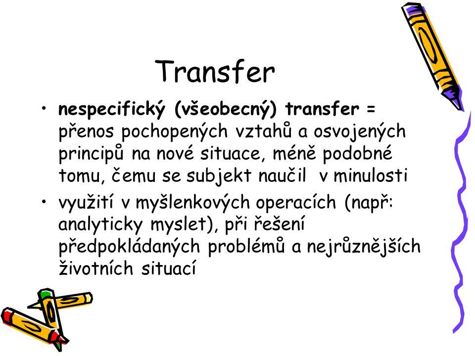 Transfer nespecifický (všeobecný) transfer = přenos pochopených vztahů a osvojených principů na nové situace, méně podobné tomu, čemu se subjekt nauči