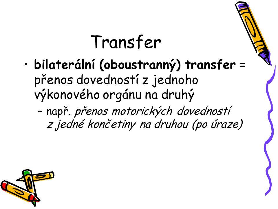Transfer bilaterální (oboustranný) transfer = přenos dovedností z jednoho výkonového orgánu na druhý –např. přenos motorických dovedností z jedné konč