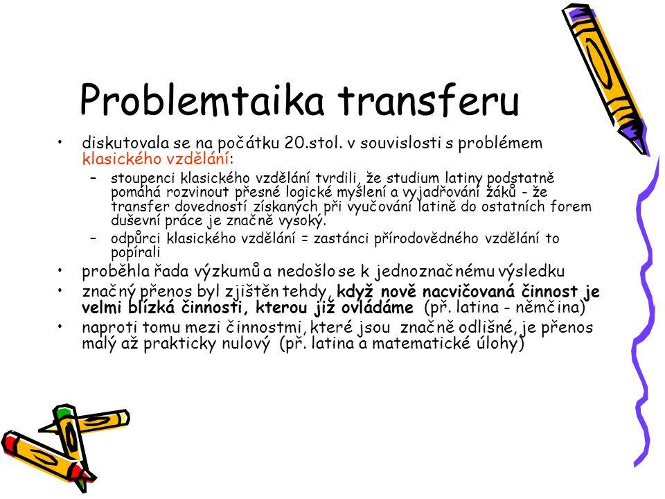 Problemtaika transferu diskutovala se na počátku 20.stol. v souvislosti s problémem klasického vzdělání: –stoupenci klasického vzdělání tvrdili, že st