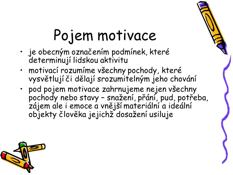 Pojem motivace je obecným označením podmínek, které determinují lidskou aktivitu motivací rozumíme všechny pochody, které vysvětlují či dělají srozumi