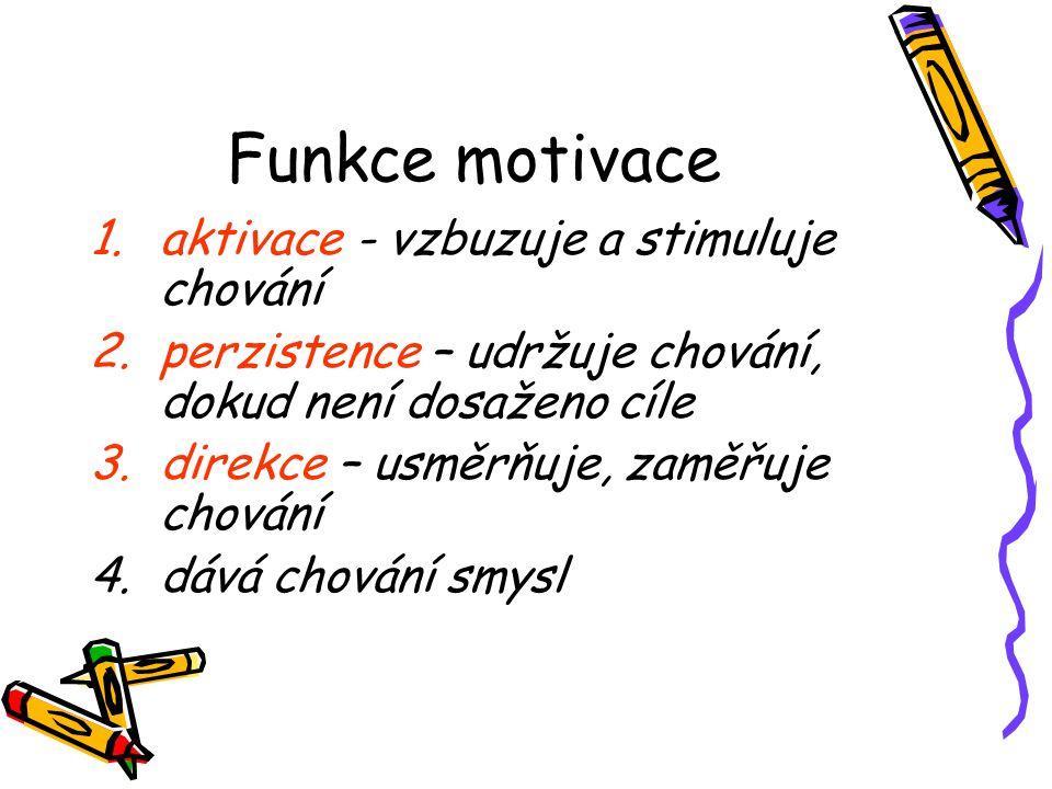 Funkce motivace 1.aktivace - vzbuzuje a stimuluje chování 2.perzistence – udržuje chování, dokud není dosaženo cíle 3.direkce – usměrňuje, zaměřuje ch