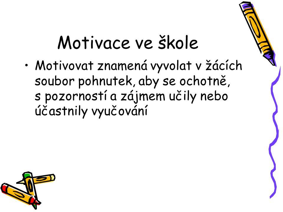 Motivace ve škole Motivovat znamená vyvolat v žácích soubor pohnutek, aby se ochotně, s pozorností a zájmem učily nebo účastnily vyučování
