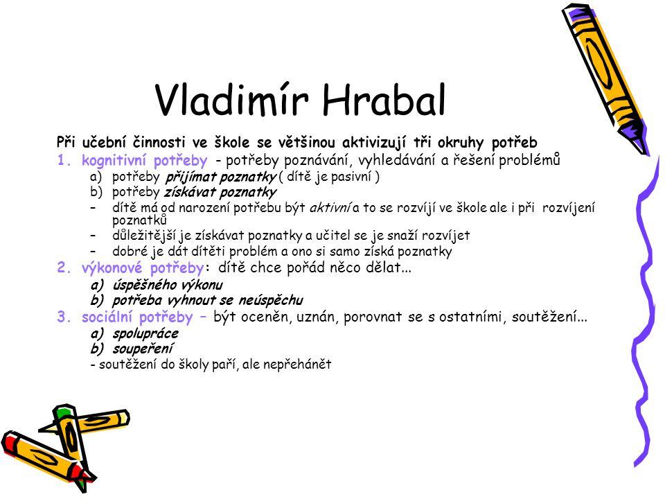 Vladimír Hrabal Při učební činnosti ve škole se většinou aktivizují tři okruhy potřeb 1.kognitivní potřeby - potřeby poznávání, vyhledávání a řešení p