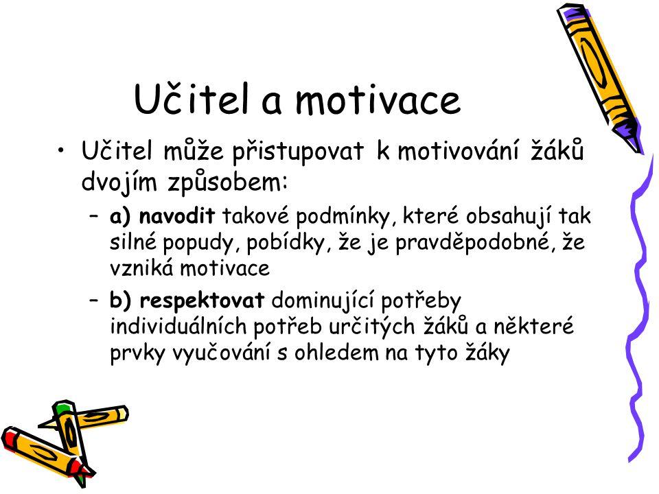 Učitel a motivace Učitel může přistupovat k motivování žáků dvojím způsobem: –a) navodit takové podmínky, které obsahují tak silné popudy, pobídky, že